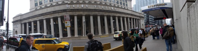 A panoramic view of the front of the station