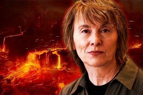 "Camille Paglia, and the fiery planet of Mustafar, from ""Star Wars Episode III: Revenge of the Sith."" (Credit: Michael Lionstar/Salon)"