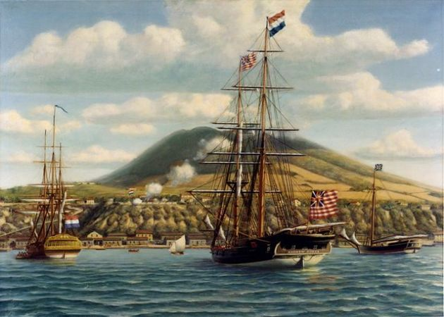 First official salute to the American flag on board an American warship in a foreign port, 16 November 1776. Painting by Phillips Melville, depicting Continental Brig Andrew Doria receiving a salute from the Dutch fort at St. Eustatius, West Indies, 16 November 1776.