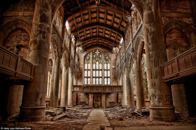 The United States Steel Company paid $385,000 toward the construction of this $1million Gothic beauty in Gary, Indiana, in the 1920s, but now the church lies in decay