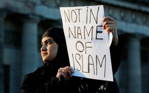 A protester at a rally against ISIS organised by Muslims in Edinburgh (PA)