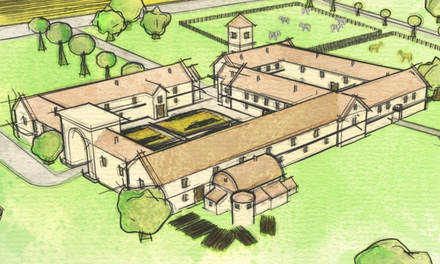 Artists-impression-of-Roman-villa