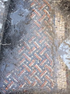 Embargoed to 0001 Sunday April 17 Undated handout photo issued by Past Landscapes Project of a Roman mosaic, found in a Roman Villa which was discovered by home owner Luke Irwin whilst he was laying electric cables in his garden at his Wiltshire farmhouse.