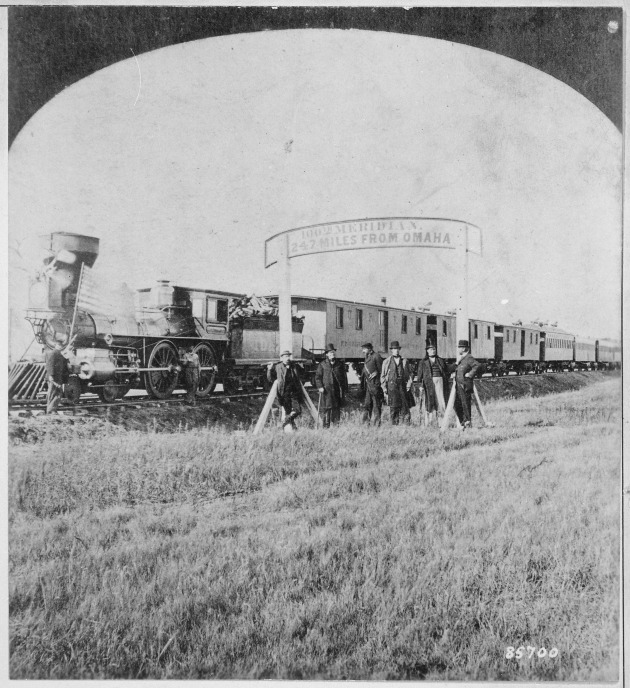 Directors_of_the_Union_Pacific_Railroad_on_the_100th_meridian_approximately_250_miles_west_of_Omaha,_Nebr._Terr._The_tra_-_NARA_-_530892